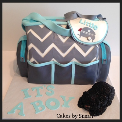 Chevron Diaper Bag They Love Camping So The Bib Is Little Camper And Black Bear Made From Fondant