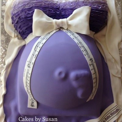 Pregnant Belly Cake The Baby Is Named Melody So Put A Nursery Rhyme Music Down The Bow