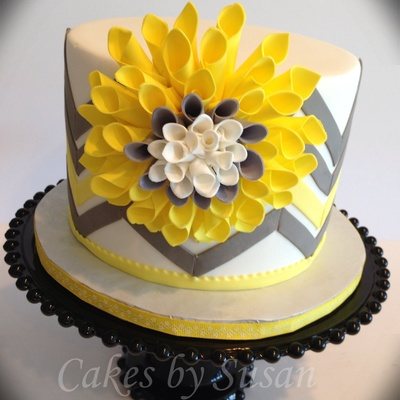 Yellow And Gray Chevron Cake I Saw This Flower Made Out Of Paper So Thought I Would Give It A Try Out Of Gumpaste