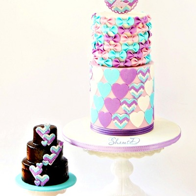 Chevron,bows And Hearts Cake