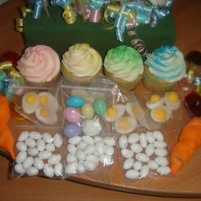 Easter Cupcakes And Candy Table
