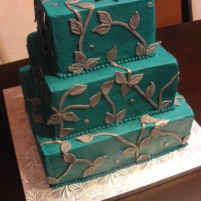 Teal And Platinum Wedding Cake