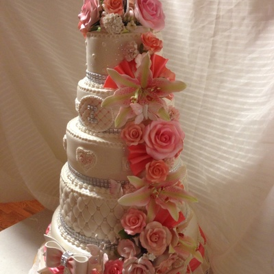 Coral Themed Wedding Cakes Tons Of Sugar Flowers on Cake Central