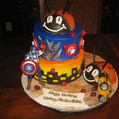 Transformer Capt America Saves The City From Decepticon And Giant Ladybug Cake....whew!!