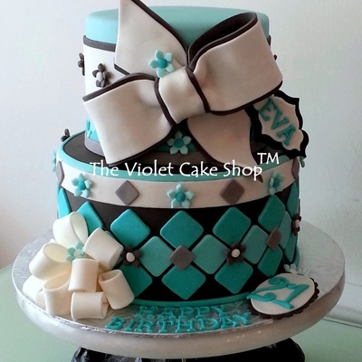 21St Birthday In Tiffany Blue With Bows on Cake Central