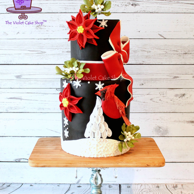 Christmas Cardinal, Stylized Poinsettia & Sugar Mistletoe Cake on Cake Central