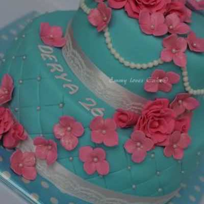 Blue And Pink Flowers Cake