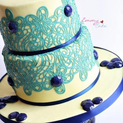 Edible Lace Cake And Blue Edible Studs