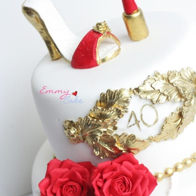 Shoes, Roses With A Touch Of Gold And Pearls