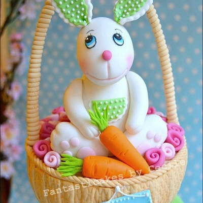 Easter Bunny In A Basket Cake
