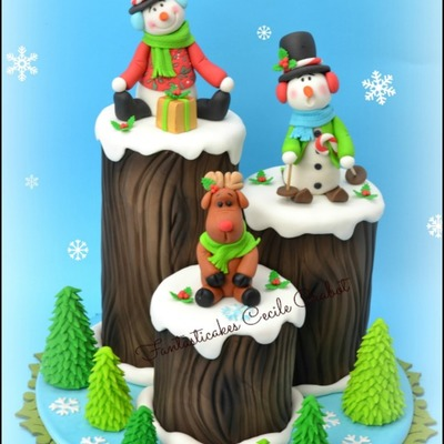 Funny Christmas Logs Cake