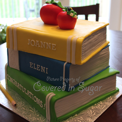 Stack Of Books Teacher Graduation Cake