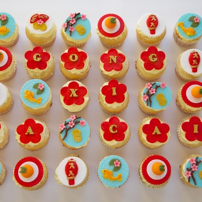 Happy Lunar New Year Coconut Cupcakes With Mango Buttercream Frosting Amp Fondant Toppers