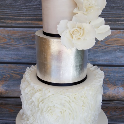 Silver Leaf & Ruffled Wedding Cake