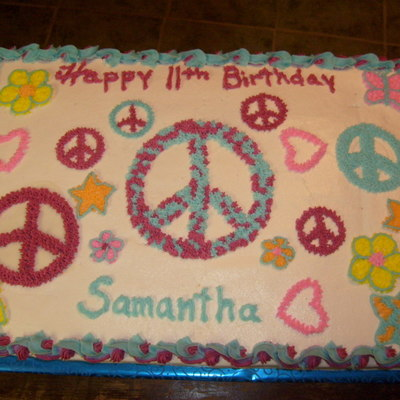 Samantha's Peace Sign Cake