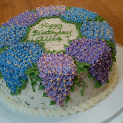Hydrangea Italian Cream Birthday Cake on Cake Central