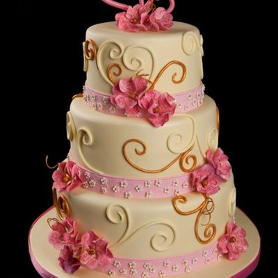 Pink And Yellow Wedding Cake