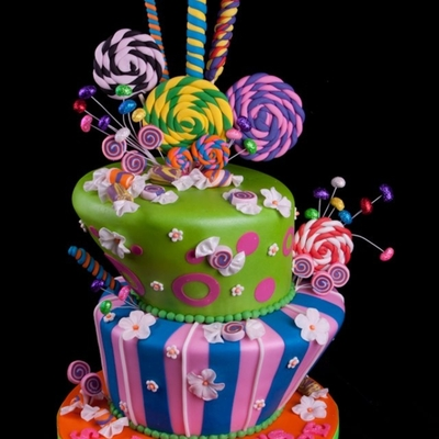 Candy Themed Topsy-Turvy Cake