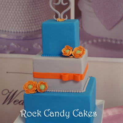 Blue And Coral Small Square Cake