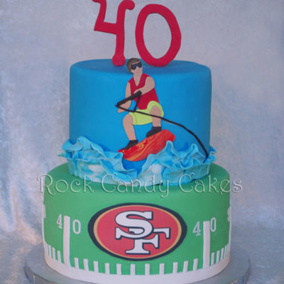 Football & Wakeboarding 40Th Birthday Cake