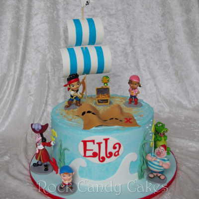 Jake The Neverland Pirate Client Provided The Toys From A Set And I Decorated A Sea Theme Sail Was Gumpaste Tfl