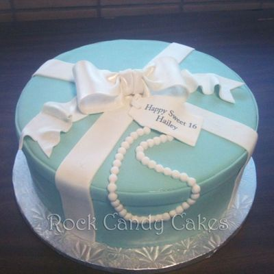 Blue Present Cake W/ Pearls