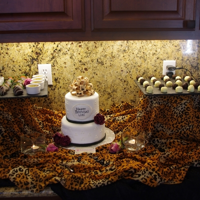 Dessert Bar Featuring Cake With Leopard Print Bow