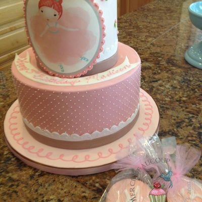 Ballerina Birthday Cover In Fondant Over A Smbc With Mc Bands And Fondant Plaque With Edible Image