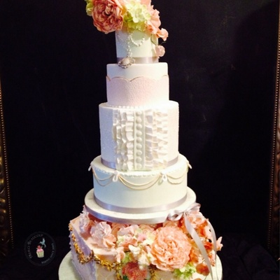 Marie Antoinette Inspired Wedding Cake Featuring Stenciling Ruffles And Flower Work
