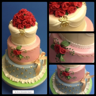 Fondant Covered Cake With Gold Details
