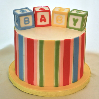 Blocks And Stripes Shower Cake