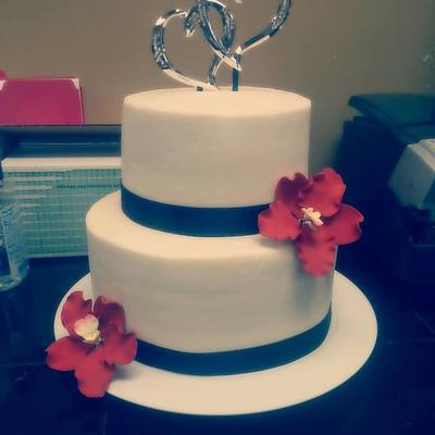 Simple Wedding Cake With Sugar Flowers on Cake Central