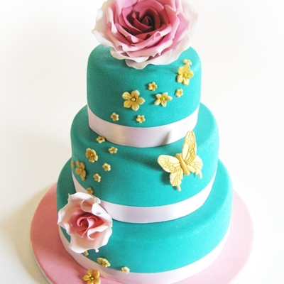 Wedding Cake Blue & Pink