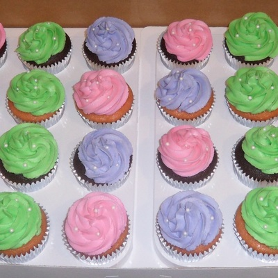 Pink, Purple, Green Cupcakes