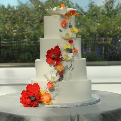 Buttercream Cake With Sugar Flowers For A Modern Look I Used A Palette Knife To Apply Shades Of Grey Buttercream For A Backdrop For The Fl...