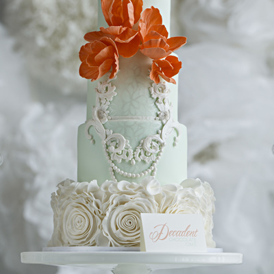 Mint Coral Rosette Ruffles And Delicate Frame Work Miv Photography