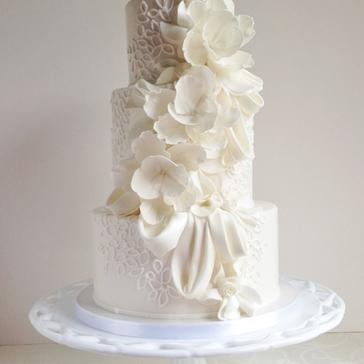 Draping Ruffles Floral And Piping Love