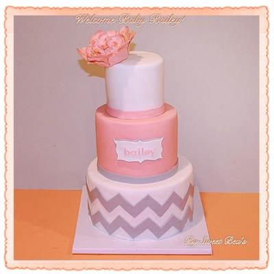 Coral And Gray Chevron Baby Shower Cake With A Gumpaste Molded Peony