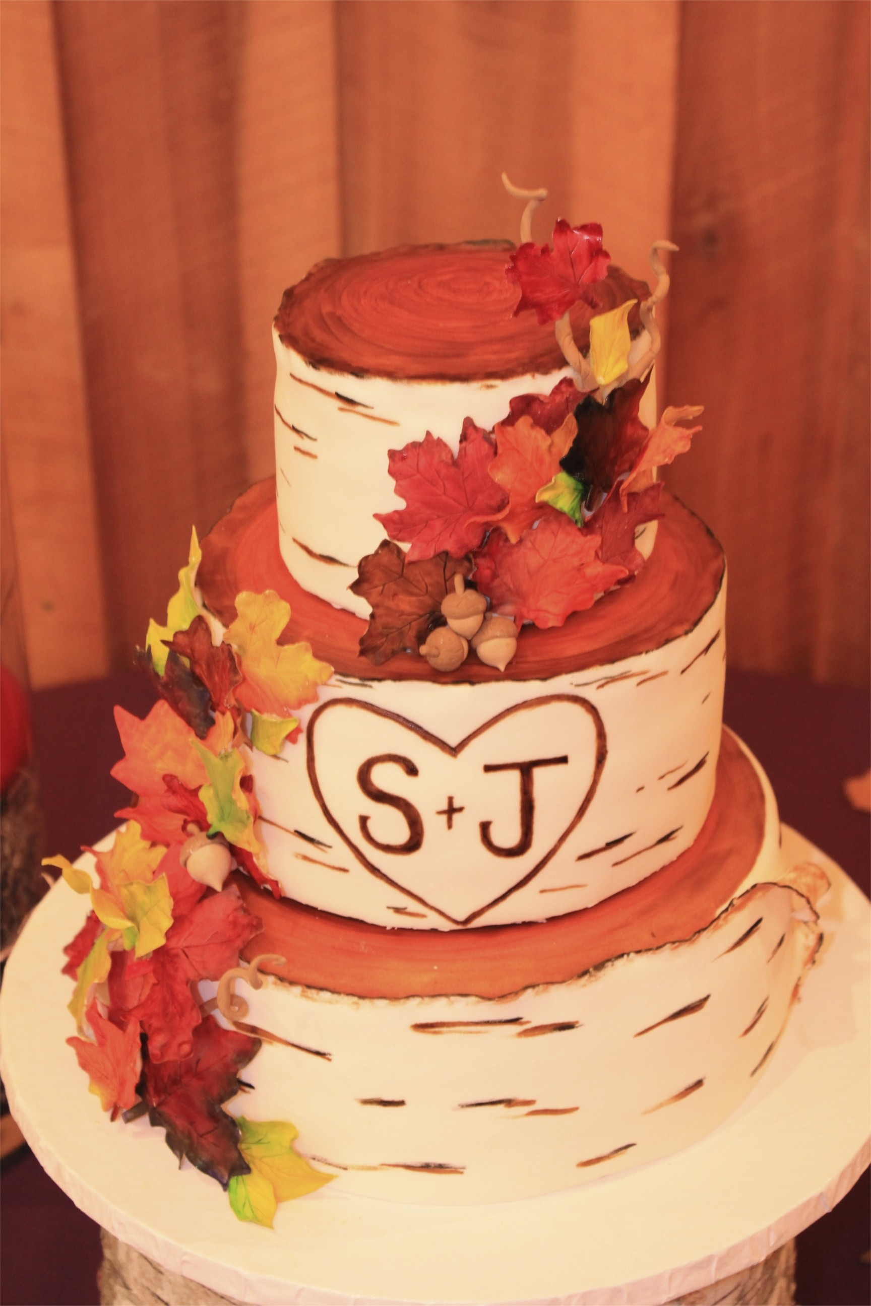Fall Birch Wedding Cake