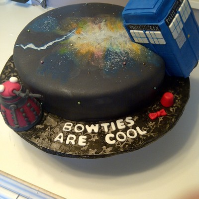 Dr Who Cake Complete With Tardis With Light Daleck Fez And Bowtie