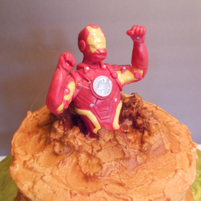 Iron Man Busting Though Cake