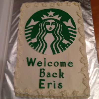 I Made This Cake For The Local Starbucks Manager Who Came Back From A Leave Recently They Are The Best Starbucks And Are Always Friendly