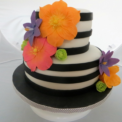 Black Amp White Birthday Cake Adorned With Brightly Colored Sugar Flowers