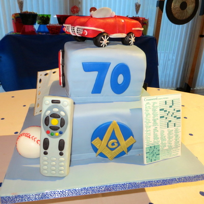 My Father In Laws 70Th Birthday Cake Complete With Hobbies Crossword Puzzles Masons Television Remote Convertible