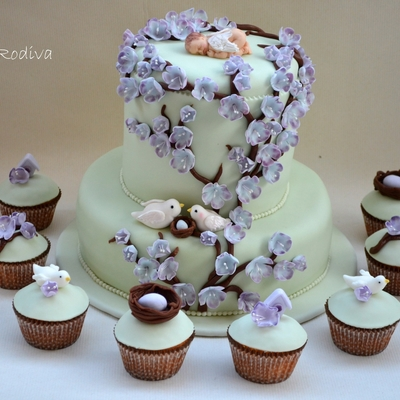 Lavender And Light Green Baby Shower Cake And Cupcakes