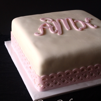 Baby Dedication Cake With Lace And Monogram