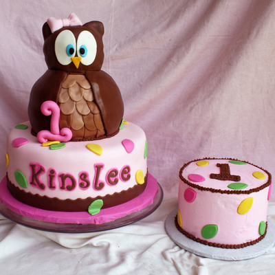 Look Whoos Turning 1 Owl Cake & Smash Cake
