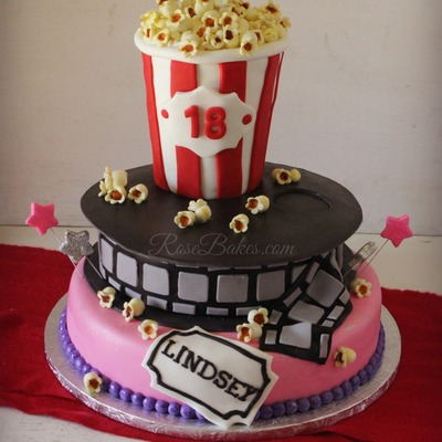 Movie Popcorn Cake For 18Th Birthday Its A 12 Round Bottom 9 Round Film Roll And Then The Popcorn Box Is Half Rice Krispies On The B