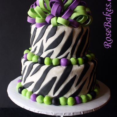Purple & Lime Green Frilly Bow Zebra Cake