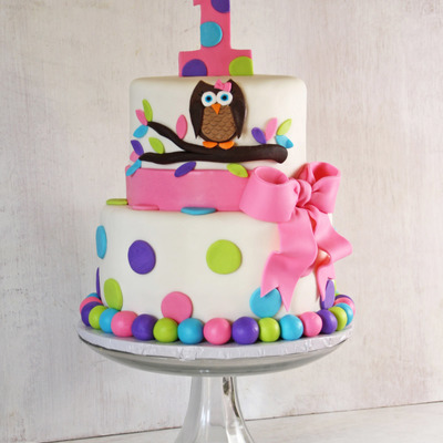 Bright Owl Cake With Polka Dots And A Bow For Twins